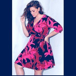💜TAYLOR💜 NEW 14 W HOT PINK & RED ON BLACK DRESS